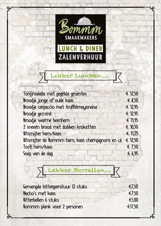 Lunchkaart Bommm Smaakmakers